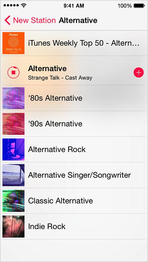 Sample genres in iTunes Radio
