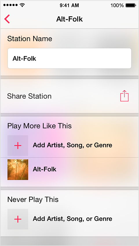 """""""Play More Like This"""" and """"Never Play This"""" options in iTunes Radio"""