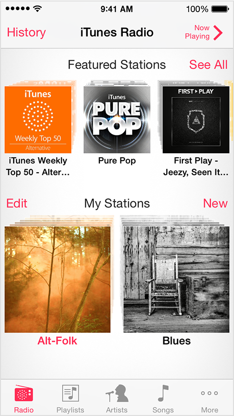 Featured stations on iTunes Radio with History option in upper-left