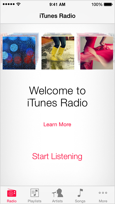 Welcome to iTunes Radio screen