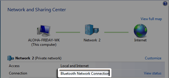 Windows Vista or Windows 7 Network and Sharing Center