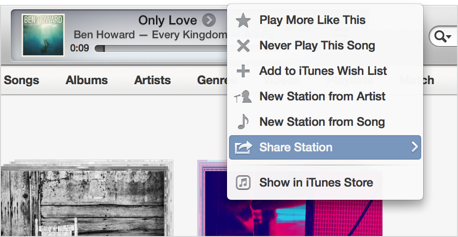 iTunes with Share Station selected