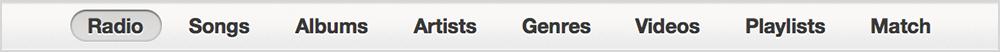 iTunes navigation bar
