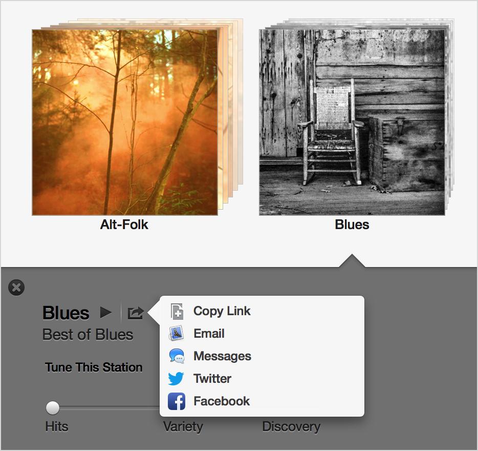 Sharing menu for Blues station