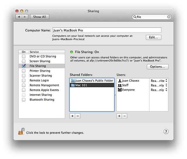 Shared folders, sharing system preferences