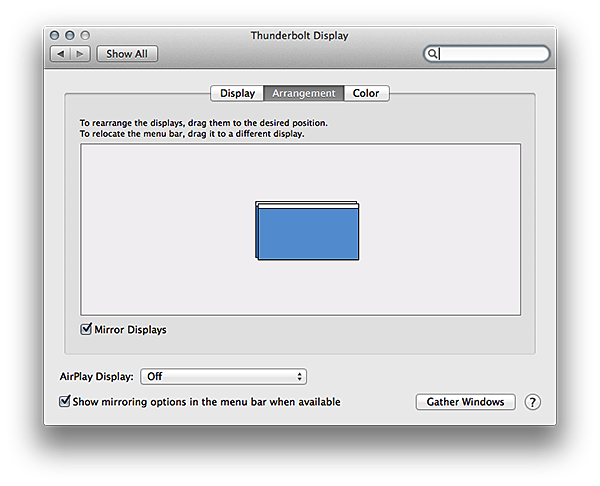 Thunderbold Display arrangement preferences