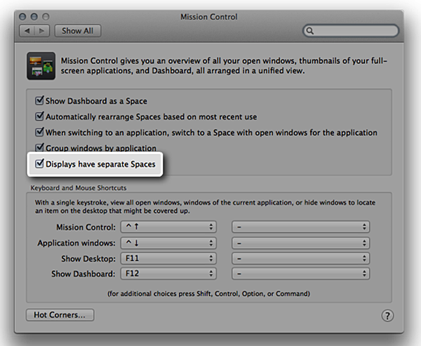 mission control system preferences