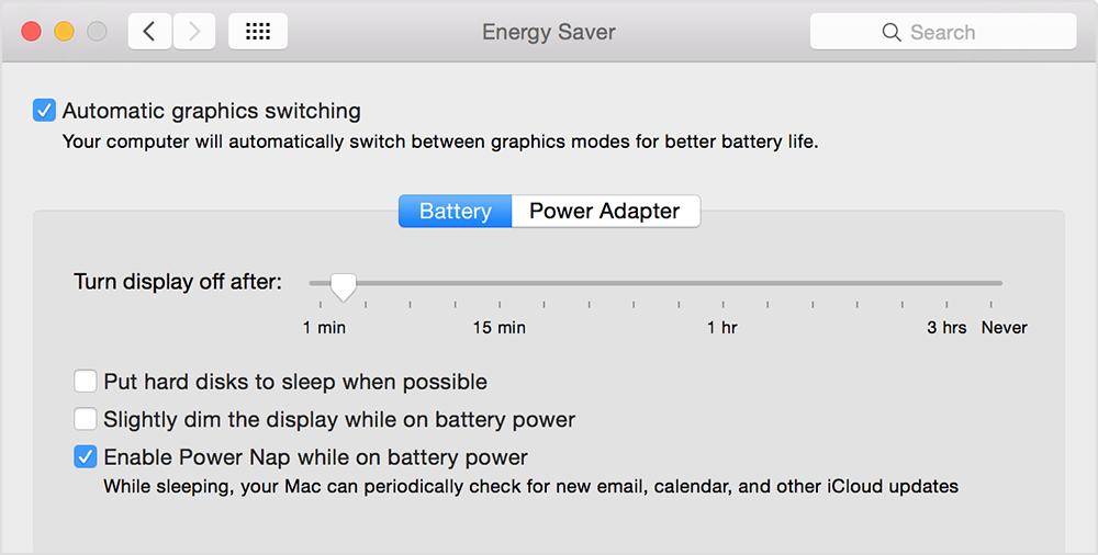 "Batterieeinstellungen ""Netzteil"""