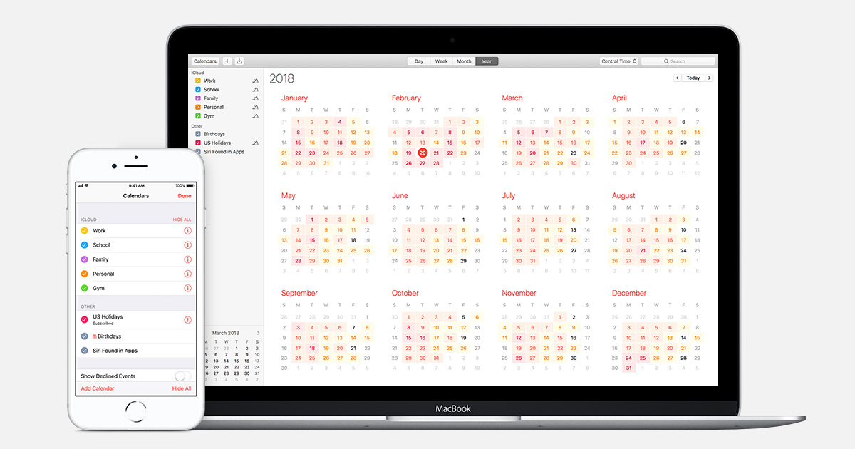 how to connect apple calenders mac and iphone